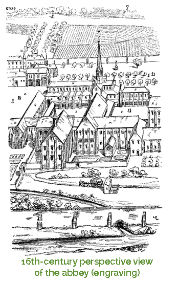 engraving of the abbey 16th century
